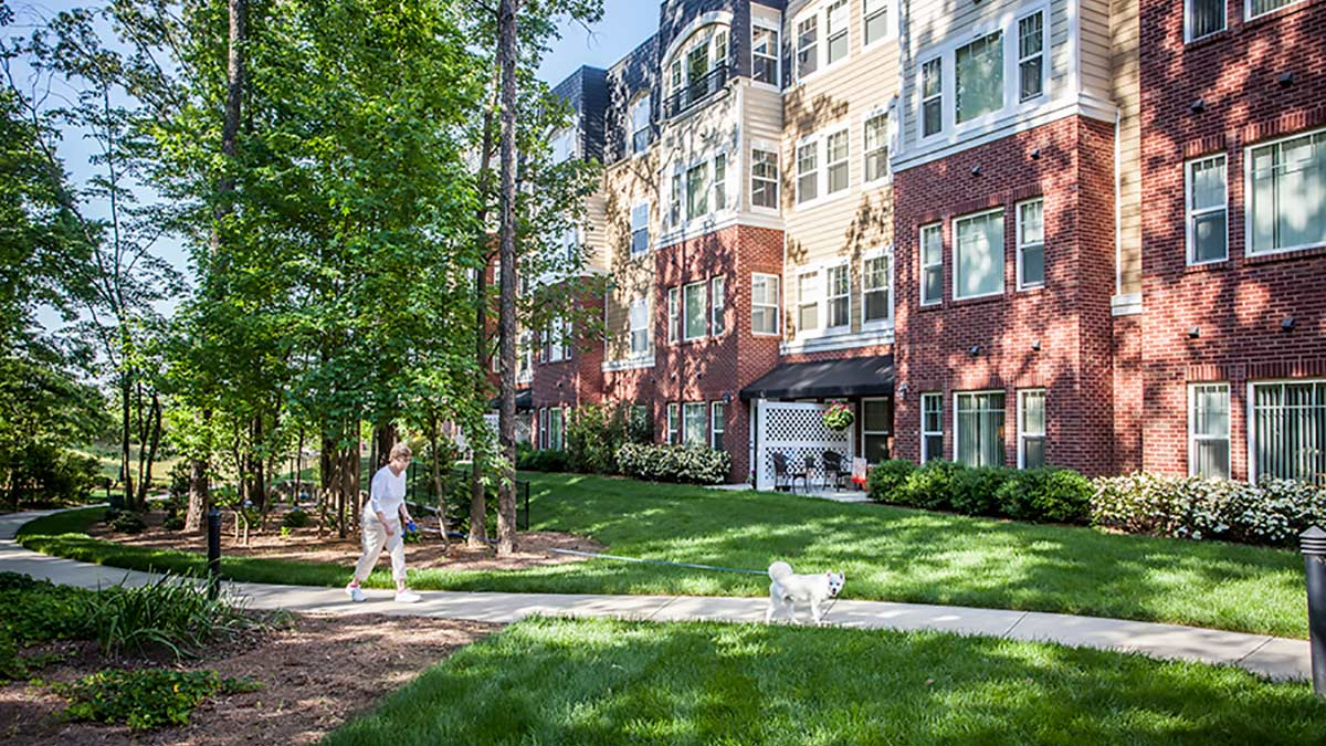 Preston Pointe - Independent Living - Walking the Dog