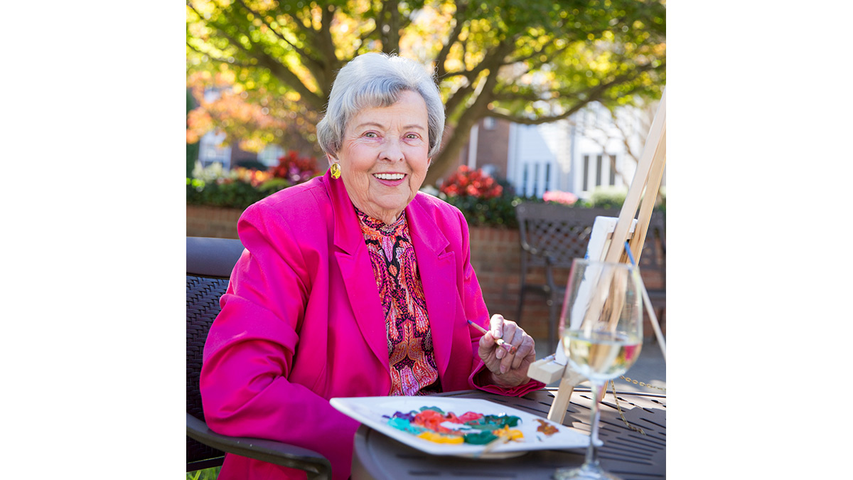 Kisco Senior Living - Abbotswood at Irving Park - Woman Painting