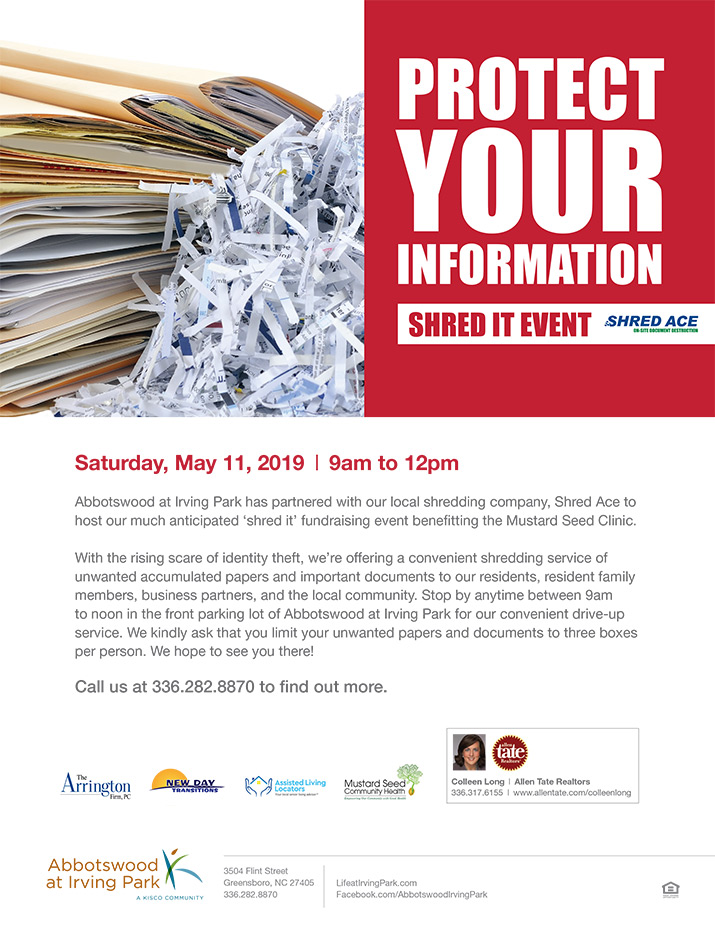 Abbotswood at Irving Park - Shred it Event | Retirement Resource Guide