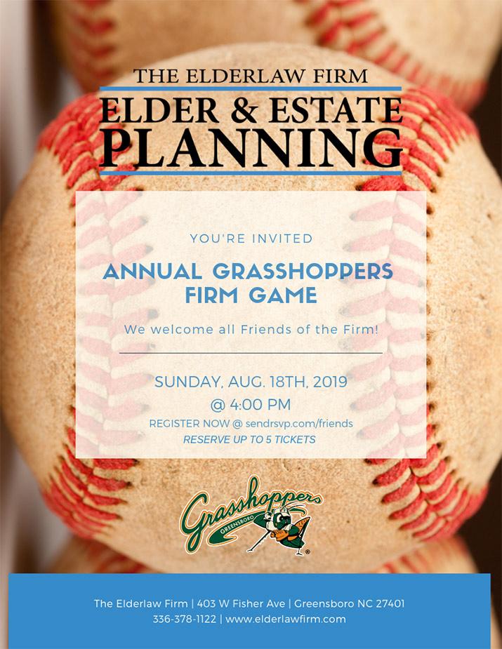 The Elderlaw Firm - Grasshoppers Game Flyer