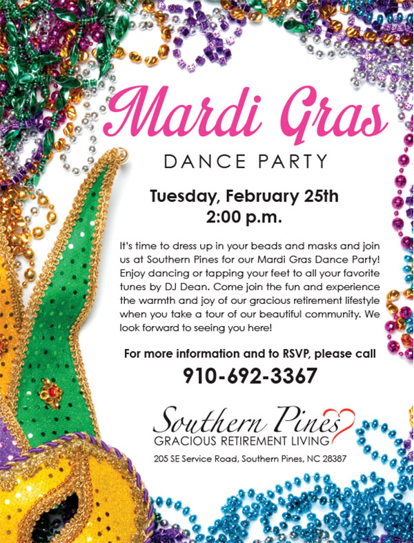 Southern Pines Gracious Retirement Living - Mardi Gras Dance Party