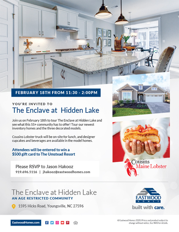 The Enclave at Hidden Lake - Grand Opening Flyer