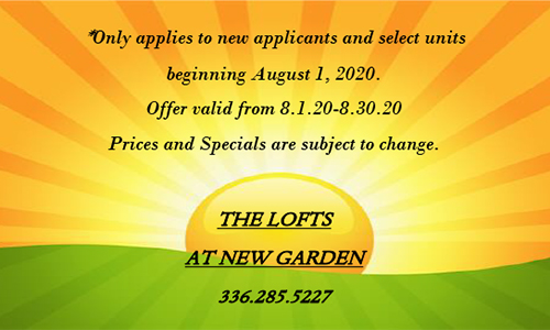 The Lofts at New Garden - August Special