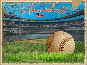 Baseball - Retro Postcard